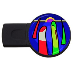 Colorful Snakes Usb Flash Drive Round (4 Gb)  by Valentinaart