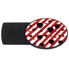 Black And Red Harts Usb Flash Drive Oval (2 Gb)  by Valentinaart