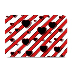Black And Red Harts Plate Mats by Valentinaart