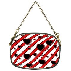 Black And Red Harts Chain Purses (one Side)  by Valentinaart