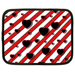 Black And Red Harts Netbook Case (xl)  by Valentinaart