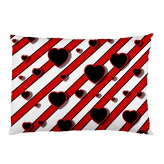 Black And Red Harts Pillow Case (two Sides)