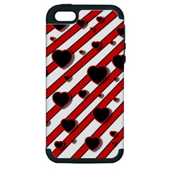 Black And Red Harts Apple Iphone 5 Hardshell Case (pc+silicone) by Valentinaart