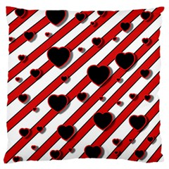 Black And Red Harts Large Flano Cushion Case (two Sides) by Valentinaart