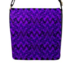 Purple Wavey Squiggles Flap Messenger Bag (l)  by BrightVibesDesign