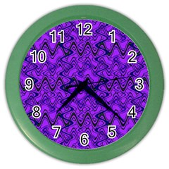 Purple Wavey Squiggles Color Wall Clocks by BrightVibesDesign