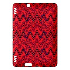 Red Wavey Squiggles Kindle Fire Hdx Hardshell Case by BrightVibesDesign