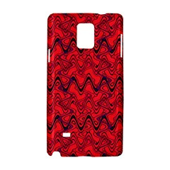 Red Wavey Squiggles Samsung Galaxy Note 4 Hardshell Case by BrightVibesDesign