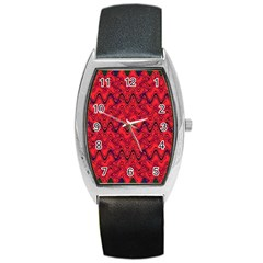 Red Wavey Squiggles Barrel Style Metal Watch by BrightVibesDesign