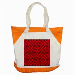 Red Wavey Squiggles Accent Tote Bag by BrightVibesDesign