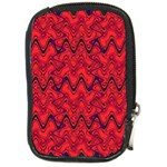 Red Wavey Squiggles Compact Camera Cases Front