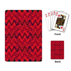 Red Wavey Squiggles Playing Card by BrightVibesDesign