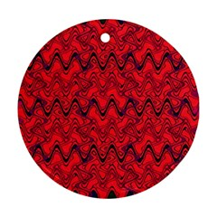 Red Wavey Squiggles Round Ornament (two Sides)  by BrightVibesDesign