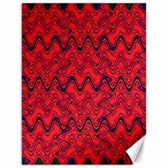 Red Wavey Squiggles Canvas 12  X 16   by BrightVibesDesign