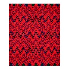 Red Wavey Squiggles Shower Curtain 60  X 72  (medium)  by BrightVibesDesign
