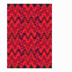 Red Wavey Squiggles Small Garden Flag (two Sides) by BrightVibesDesign