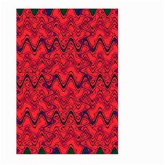 Red Wavey Squiggles Large Garden Flag (two Sides) by BrightVibesDesign