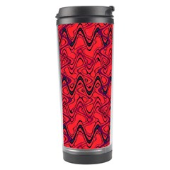 Red Wavey Squiggles Travel Tumbler by BrightVibesDesign