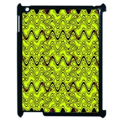 Yellow Wavey Squiggles Apple Ipad 2 Case (black) by BrightVibesDesign