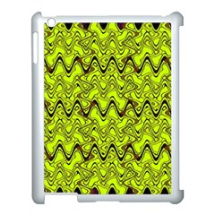 Yellow Wavey Squiggles Apple Ipad 3/4 Case (white) by BrightVibesDesign