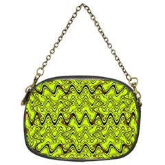 Yellow Wavey Squiggles Chain Purses (one Side)  by BrightVibesDesign