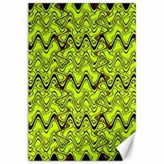 Yellow Wavey Squiggles Canvas 12  X 18   by BrightVibesDesign