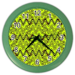 Yellow Wavey Squiggles Color Wall Clocks by BrightVibesDesign