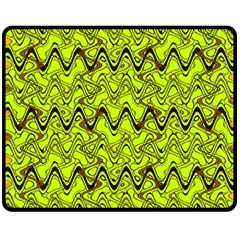Yellow Wavey Squiggles Double Sided Fleece Blanket (medium)  by BrightVibesDesign