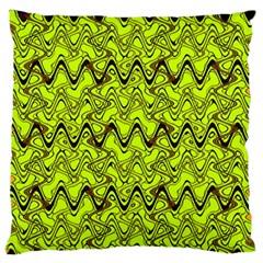 Yellow Wavey Squiggles Standard Flano Cushion Case (one Side) by BrightVibesDesign