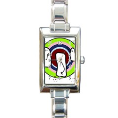 Disco Rectangle Italian Charm Watch by Valentinaart