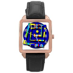 Maze Rose Gold Leather Watch  by Valentinaart