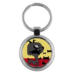 Angry Little Dog Key Chains (round)  by Valentinaart