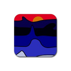 Waves Rubber Square Coaster (4 Pack)  by Valentinaart