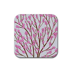 Cherry Tree Rubber Coaster (square)  by Valentinaart