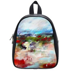 Red Abstract Landscape School Bags (small)  by artistpixi