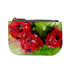 Floral  Red On Green Mini Coin Purses by artistpixi