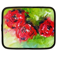 Floral  Red On Green Netbook Case (xxl)  by artistpixi