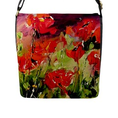 Abstract Poppys  Flap Messenger Bag (l)  by artistpixi