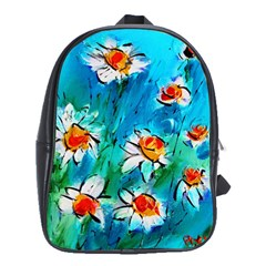 Abstract Daisys Floral Print  School Bags(large)  by artistpixi