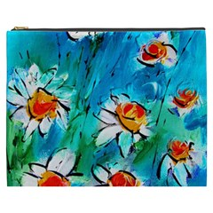 Abstract Daisys Floral Print  Cosmetic Bag (xxxl)  by artistpixi