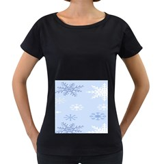 Snowflakes Pattern Women s Loose-Fit T-Shirt (Black) by artpics