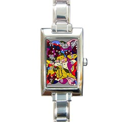New Year Rectangle Italian Charm Watch by Valentinaart