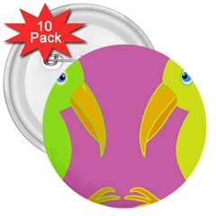 Parrots 3  Buttons (10 pack)  by Valentinaart