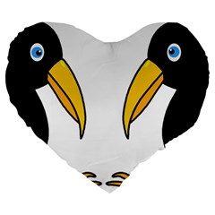 Ravens Large 19  Premium Flano Heart Shape Cushions by Valentinaart