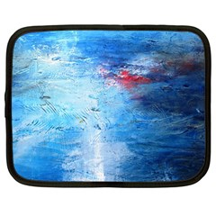 Abstract Blue And White Print  Netbook Case (large) by artistpixi