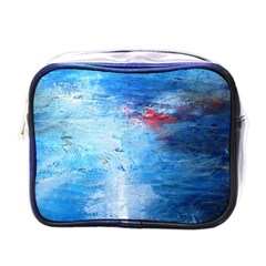 Abstract Blue And White Print  Mini Toiletries Bags by artistpixi