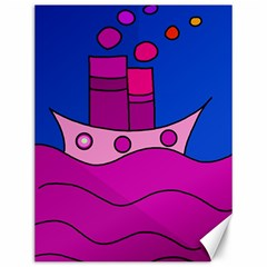 Boat Canvas 12  X 16   by Valentinaart