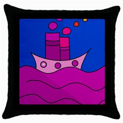 Boat Throw Pillow Case (black) by Valentinaart