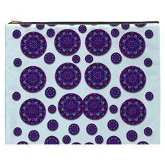 Shimmering Floral Abstracte Cosmetic Bag (xxxl)  by pepitasart