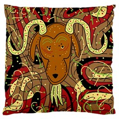Billy Goat Large Flano Cushion Case (one Side) by Valentinaart